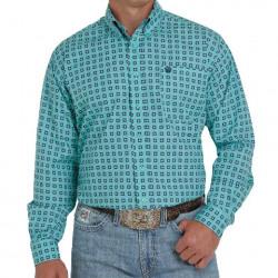 Cinch Men's Turquoise Geo Print Button Western Shirt