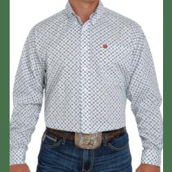 Cinch Men's White Navy Geo Print Button Western Shirt