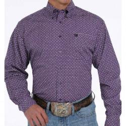 Cinch Men's Purple Black Geo Print Button Western Shirt