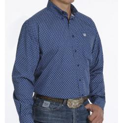 Cinch Men's Royal Blue Black Diamond Print Button Western Shirt