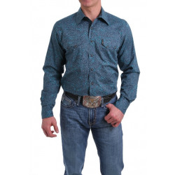 Cinch Men's Blue Teal Paisley Snap Western Shirt
