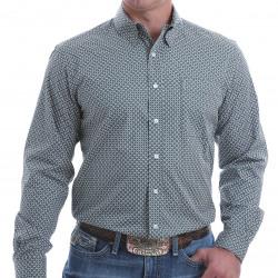 Cinch Men's Modern Fit Charcoal Teal Yellow Geo Print Button Shirt