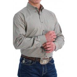 Cinch Men's Khaki With Diamond Print Modern Fit Western Shirt
