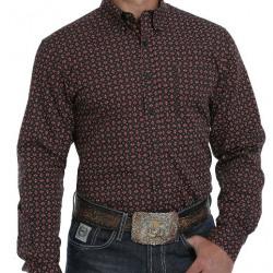 Cinch Modern Fit Black Aztec Print Button Western Shirt