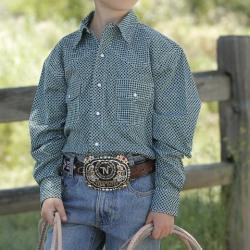 Cinch Boy's Green Micro Geo Print Snap Western Shirt