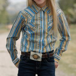 Cruel Girl's Yellow Blue Snap Front Western Shirt