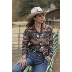 Cruel Ladies Southwestern Striped Snap Western Shirt