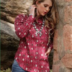 Cruel Ladies Cranberry Print Lace Back Western Shirt