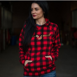 Kimes Ranch Ladies Red Black Check Cabin Fever Hoodies