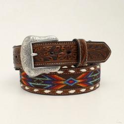 Nocona Men's Fabric Inlay Western Buckstitch Edged Belt