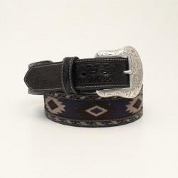 Nocona Santa Fa Men's Grey Fabric Inlay Embossed Tab Belt