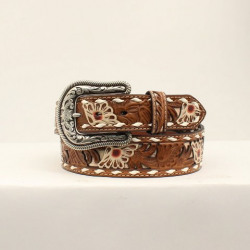 Nocona Girl's Painted Floral Tooled Belt With Underlay Buckstitch Trim