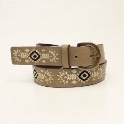 Nocona Girl's Ivory Floral Pattern Belt With Black Diamond Embroidered