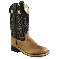 Old West Youth Brown Black Cowboy Boots