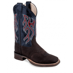 Old West Distressed Cowhide Red Blue Cowboy Boots BSY1868