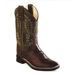 Old West Youth Chocolate Green Cowboy Boots