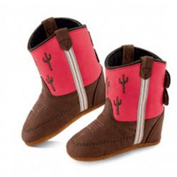 Old West Infant Poppets Pink Velcro Western Boots