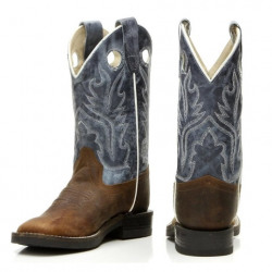 Old West Kids Snuffed Blue Leather Cowboy Boots
