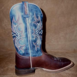 Old West Men's Navy Brown Square Toe Western Boot