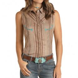 Panhandle Ladies Short Sleeve Retro Snap Turquoise Brown Western Shirt