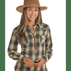 Powder River Ladies Brushed Twill Green Plaid Shirt