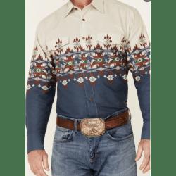 Panhandle Men's Taupe Aztec Border Snap Western Shirt