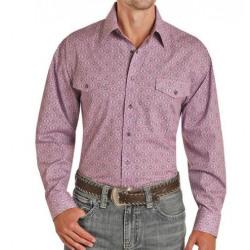 Panhandle Men's Purple Grey Orchid Print Snap Western Shirt