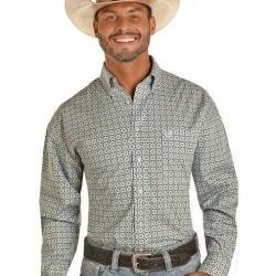 Panhandle Slim Men's Blue Black Tan Print Button Western Shirt