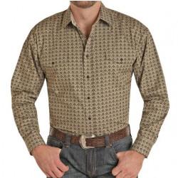 Panhandle Men's Taupe Black Print Snap Western Shirt