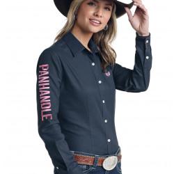 Panhandle Ladies Pink Logo Navy Western Snap Shirt