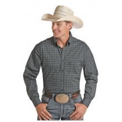 Panhandle Men's Dark Green Print Western Shirt