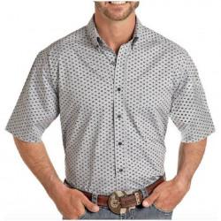 Panhandle Men's Blue Aztec Design Short Sleeve Western Shirt
