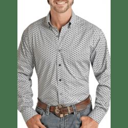 Panhandle Men's Blue Aztec Design Long Sleeve Western Shirt