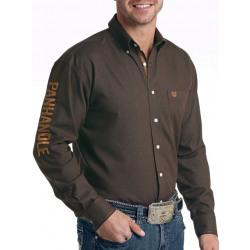 Panhandle Rough Stock Brown Logo Button Shirt