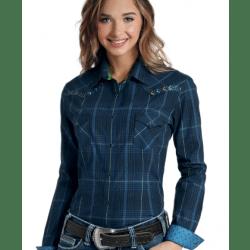 Panhandle Ladies Aztec Embroidered Blue Plaid Western Shirt