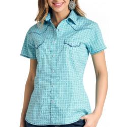 Panhandle Ladies Turquoise Short Sleeve Western Shirt
