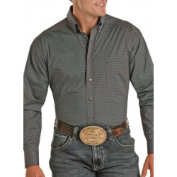 Panhandle Tuf Cooper Athletic Fit Button Down Geo Print Shirt