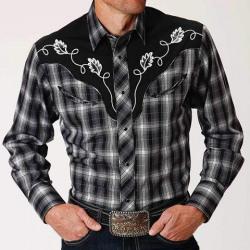 Roper Men's Black White Plaid Applique Snap Western Shirt