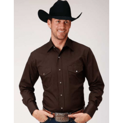 Roper Men's Solid Brown Long Sleeve Snap Shirt