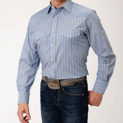 Roper Men's Blue Yellow Snap Long Sleeve Western Shirt