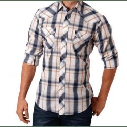 Roper Men's Navy Light Blue Tan Plaid Snap Western Shirt