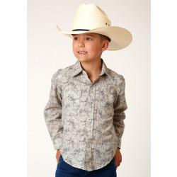Roper Boy's Grey Floral Print Snap Western Shirt