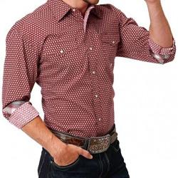 Roper Men's Long Sleeve Red Barn Foulard Western Shirt