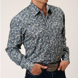 Roper Men's Blue Plaza Paisley Long Sleeves Snap Shirt