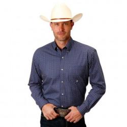 Roper Men's Blue Print Foulard Button Down Western Shirt