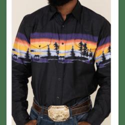 Roper Men's Black With Sunset Border Shirt