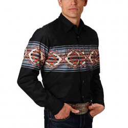 Roper Men's Vintage Black Blanket Border Shirt
