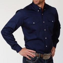 Roper Men's Solid Navy Poplin Western Shirt