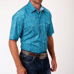 Roper Men's Short Sleeve Meadow Paisley Snap Western Shirt