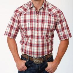Roper Men's Short Sleeve Vintage Red Plaid Snap Western Shirt